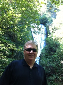 Rich enjoying a favorite spot in Northern Oregon, Bridal Veil Falls in the Columbia River Gorge.